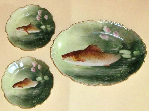 Limoges Set of Fish Plates 1890's SIGNED by GlassLoversGallery