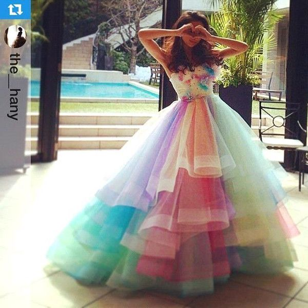 Cheap ful Rainbow Prom Dresses A Line Sweetheart Off Shoulder Prom ...