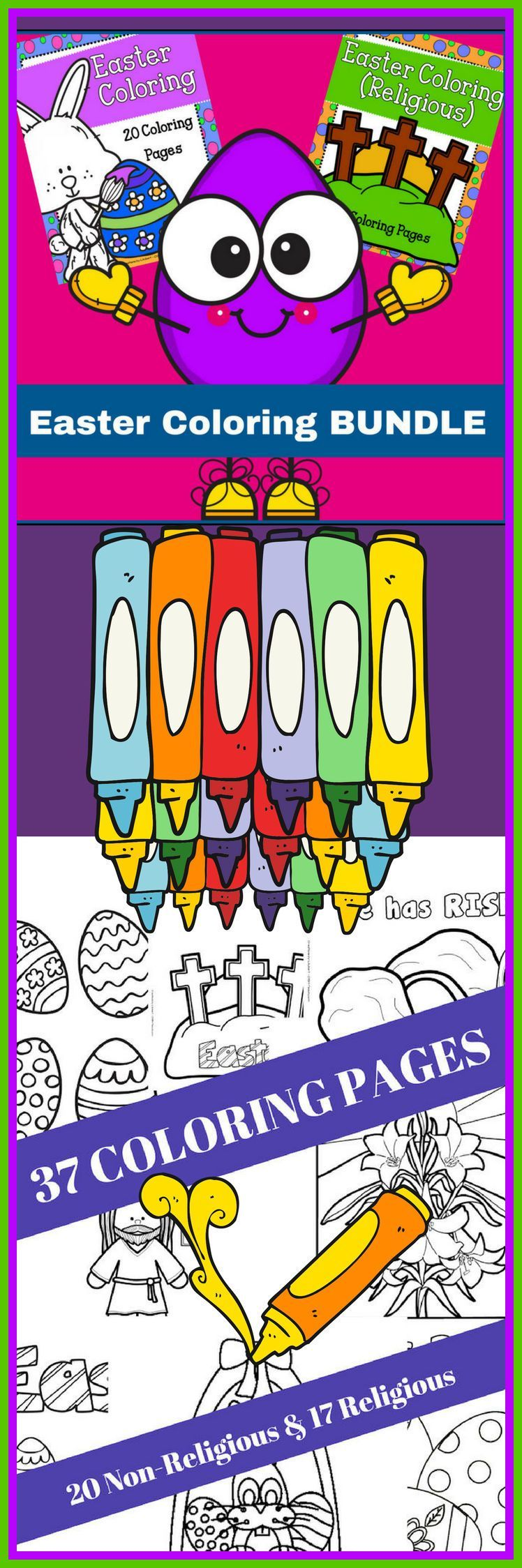get 2 easter coloring books in easter coloring bundle the first 20 are all non religious coloring pages and include bunnies chicks and eggs and from my - Religious Coloring Books 2