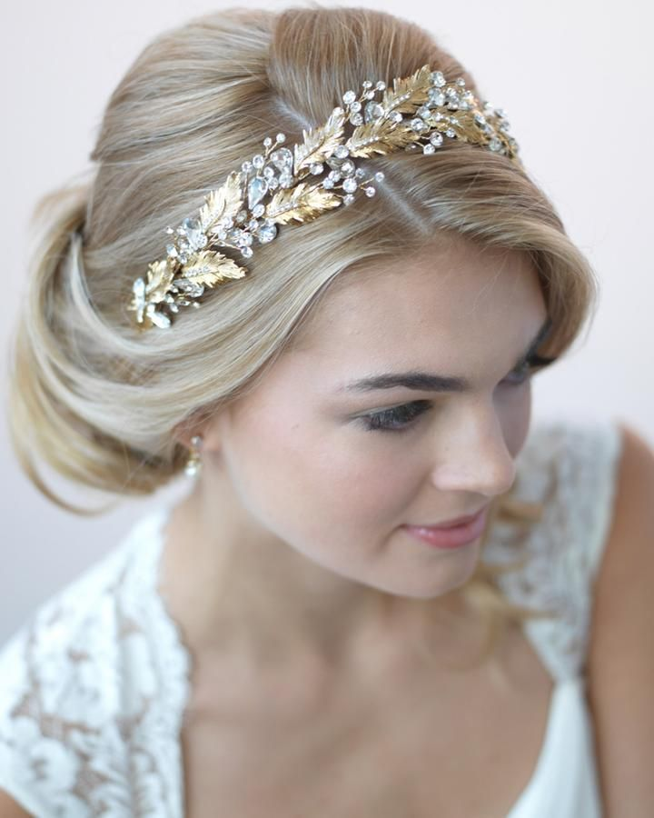 Wedding Hairstyle With Headband: Shop Bridal Hair Accessories In Gold And Rose Gold. Bridal
