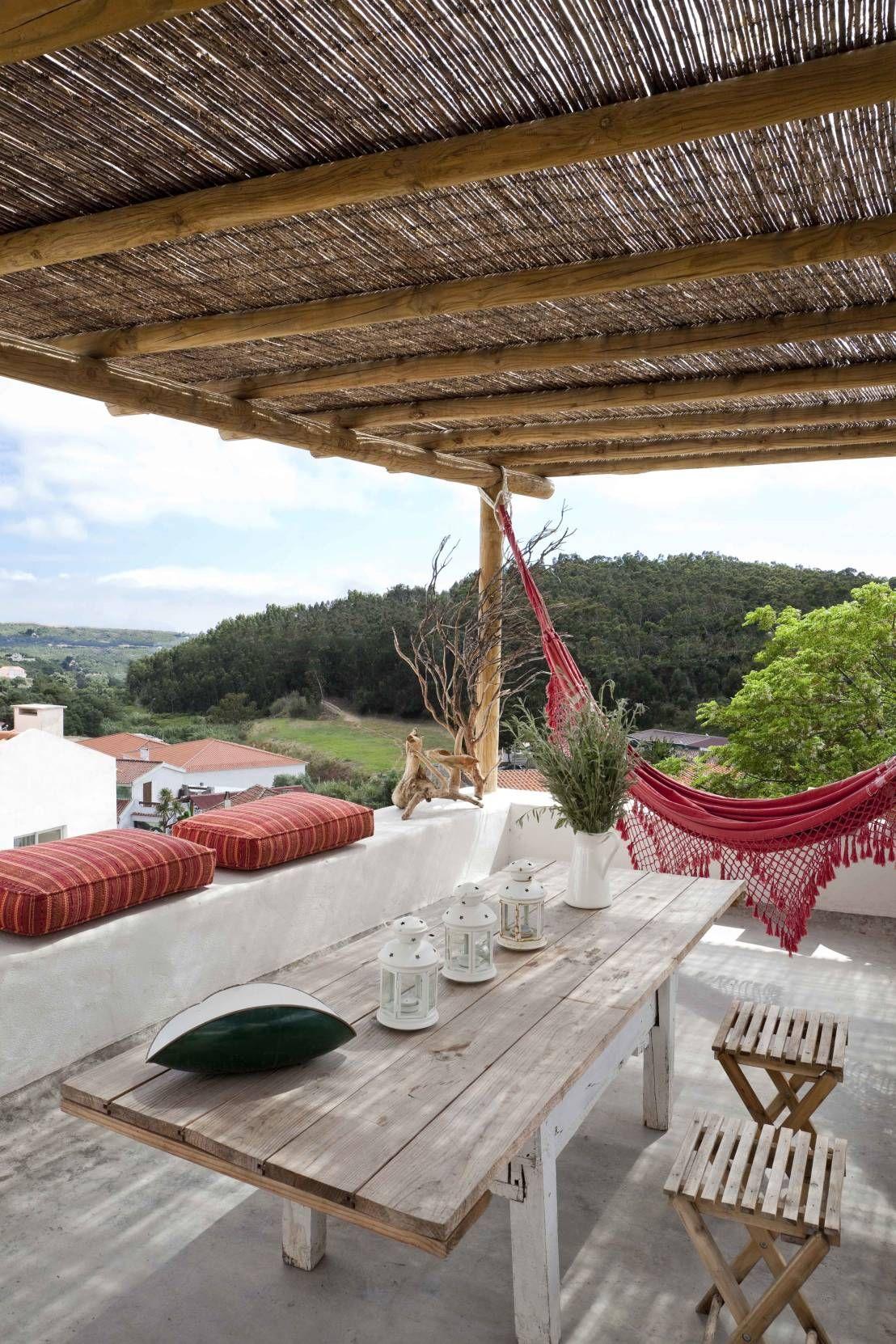15 terrazas r sticas sensacionales ideas para el hogar - Toldos para patios exteriores ...
