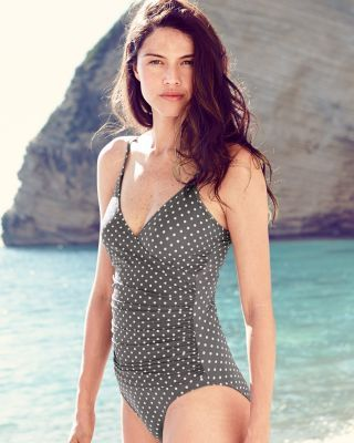 477eda837f Garnet Hill Ruched Surplice Swimsuit  98.00