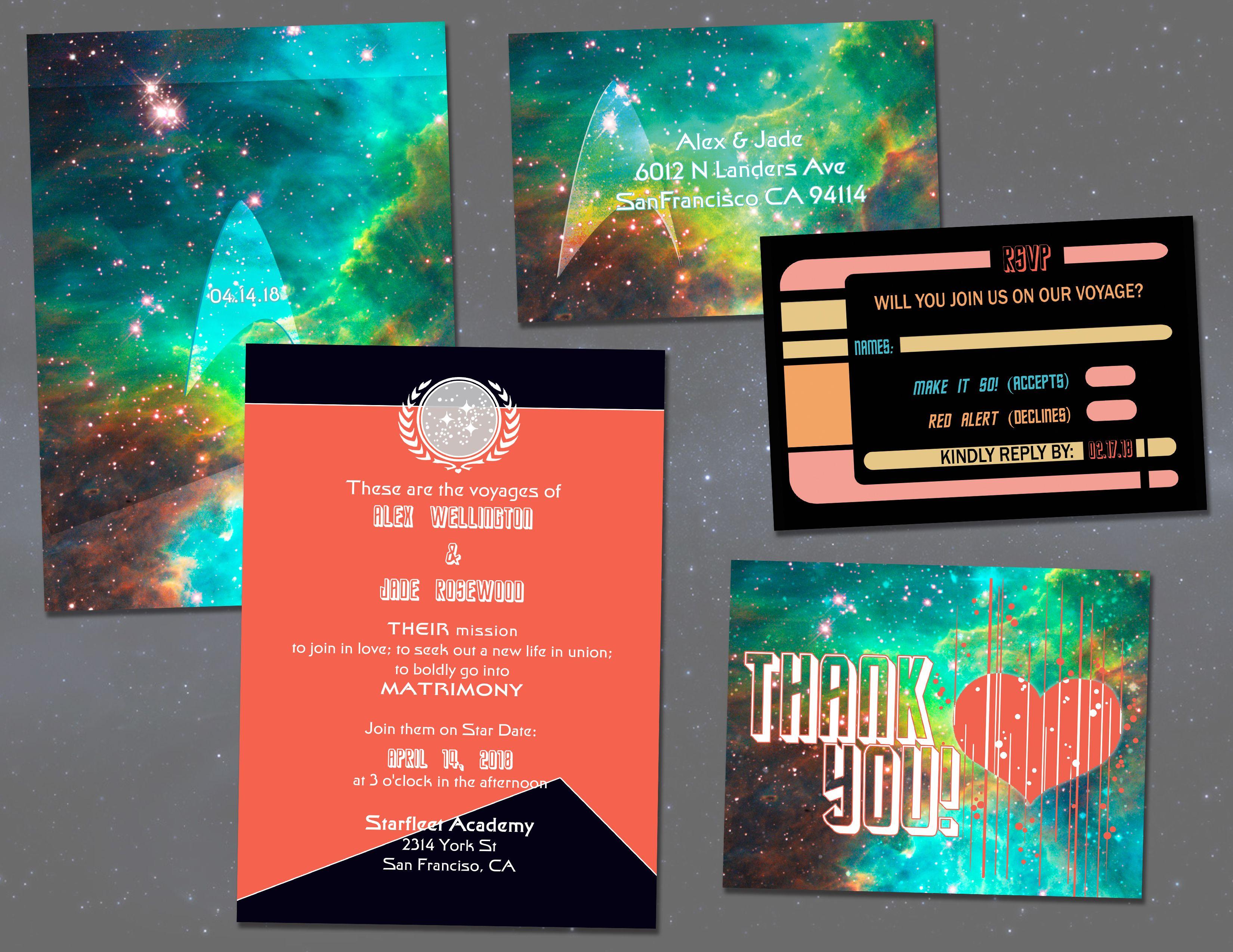 Star Trek Wedding Invitation Set // Digital Invitations // Geeky DIY ...