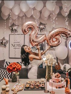 Rose Gold Birthday Number balloon with white balloons |Birthday decor |16th 18th 21st 30th Birthday |Big letter Number balloon|26th Birthday