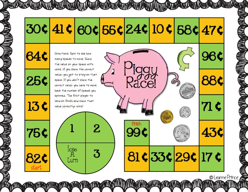 piggy race Money math, Fun math