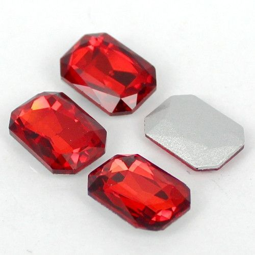 20 Piece Ruby Red 10x14 Octagon Rectangle Glass Pointback Rhinestones (EPDPR1725)