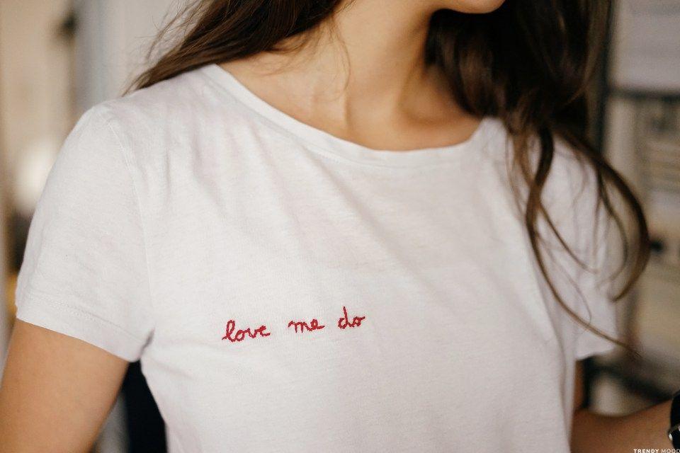 diy broderie sur un t shirt en coton love me do. Black Bedroom Furniture Sets. Home Design Ideas