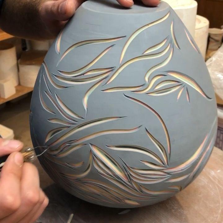 Carved Forestceramicco porcelain vase #potteryclasses