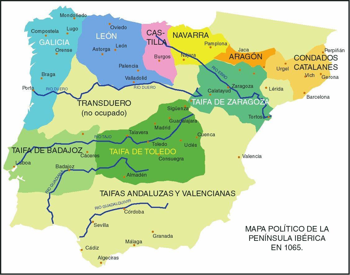 Mapa Politico De Toledo.El Reino Taifa De Toledo Toledo Historia De Espana Califato De Cordoba