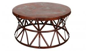 Distressed Industrial Steel Cocktail Table Red Architectural Metal Supports