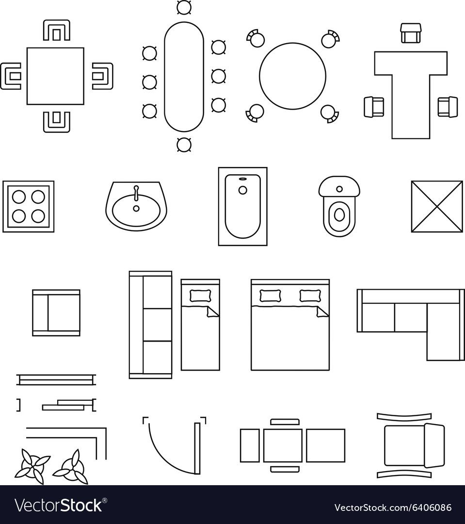 Vector Floor Plan Furniture Symbols Floor Plan Symbols Floor Plan Drawing How To Plan