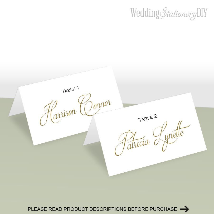 Simple elegance place card template| Place cards wedding| DIY ...