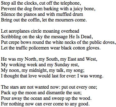 Funeral Blues WH Auden