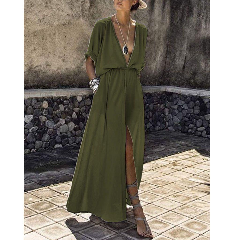 vestido maxi liso cintura elástico con cuello en v - wiki