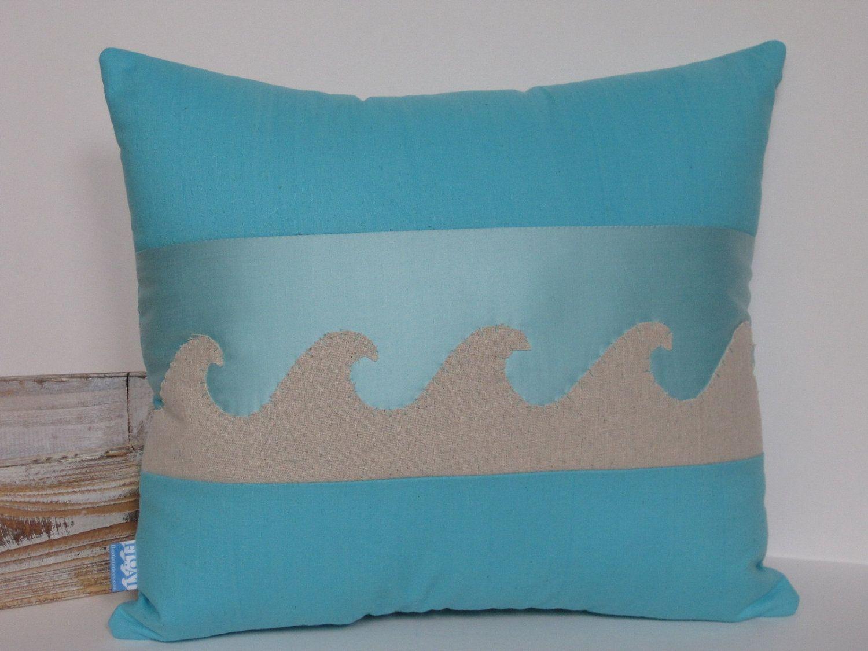 Beach house wave linen applique pillow in turquoise cotton. $30.00