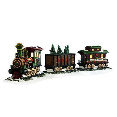 Christmas Village Train Set.St Nicholas Square Village Collection Train Set Set Of 3