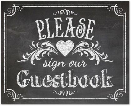 Wedding Signs Template Vintage Chalkboard Guestbook Sign