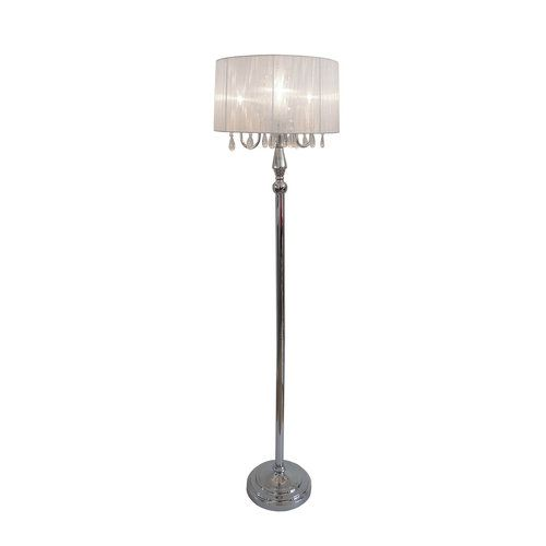 Trendy Romantic Sheer Shade Floor Lamp With Hanging Crystals Chrome Floor Lamps Vintage Floor Lamp Floor Lamp Shades