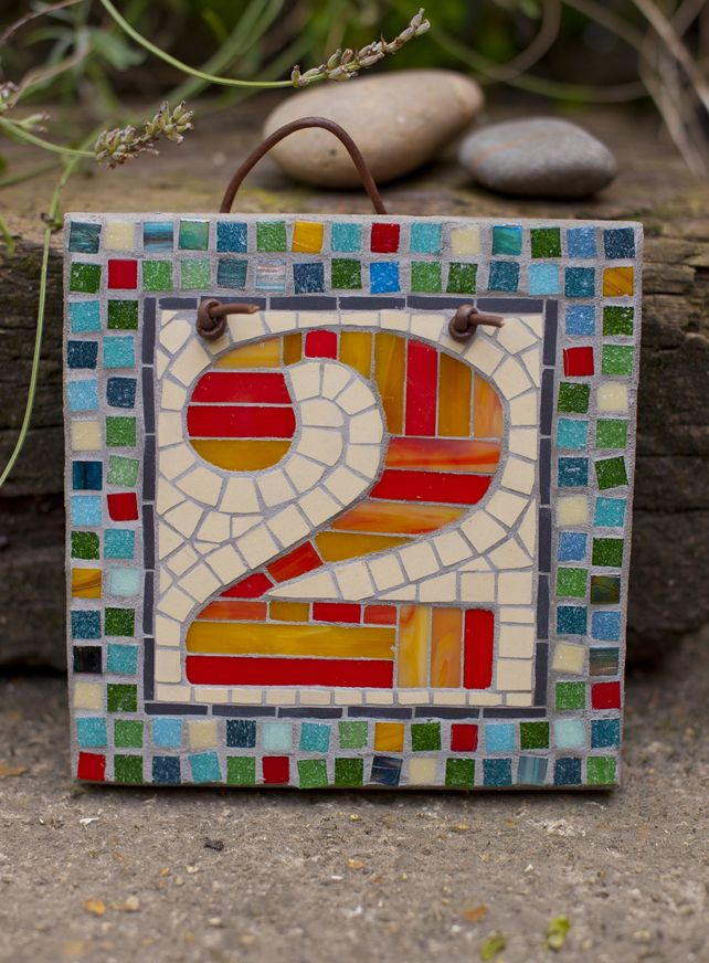 Mosaic House Number Made To Order 17cm X 17 Cm 45 00 Mosaic