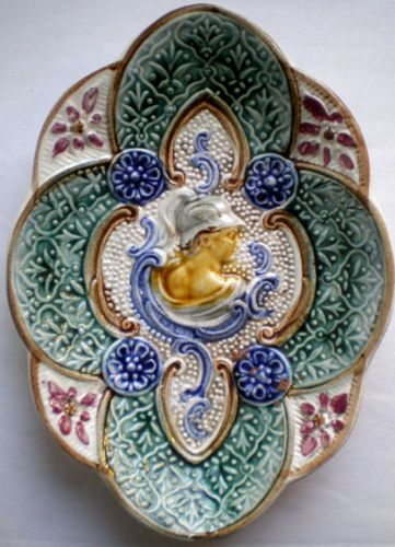 Antique-French-Majolica-ovale-Plate-Arabesques-and-Character-relief