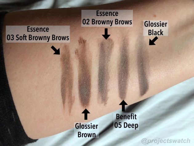 tinted brow gel review and comparison glossier boy brow vs essence