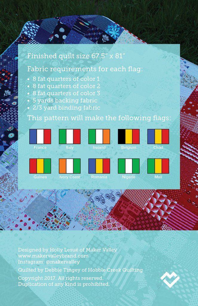 Bonjour - France Flag Quilt Pattern - Downloadable PDF   Quilts