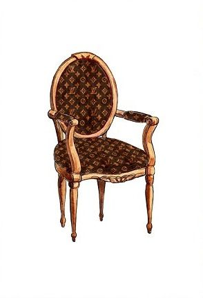 louis vuitton chair illustration design aquarell und m bel. Black Bedroom Furniture Sets. Home Design Ideas