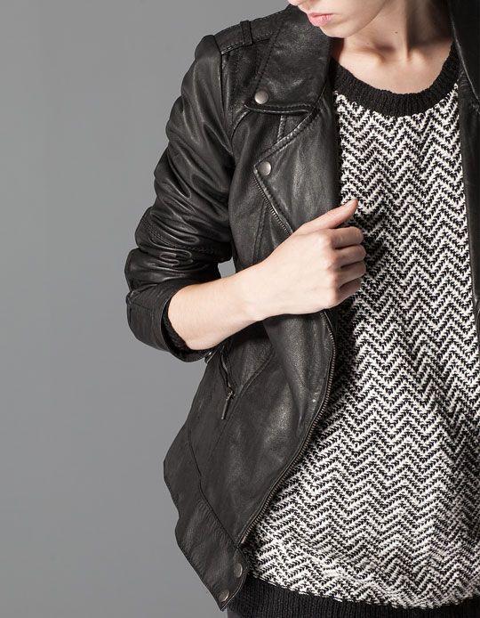 Stradivarius Leather biker jacket