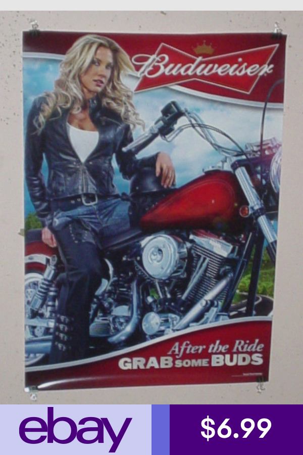 Posters Prints Collectibles Ebay Motorcycle Girl Budweiser Beer Poster