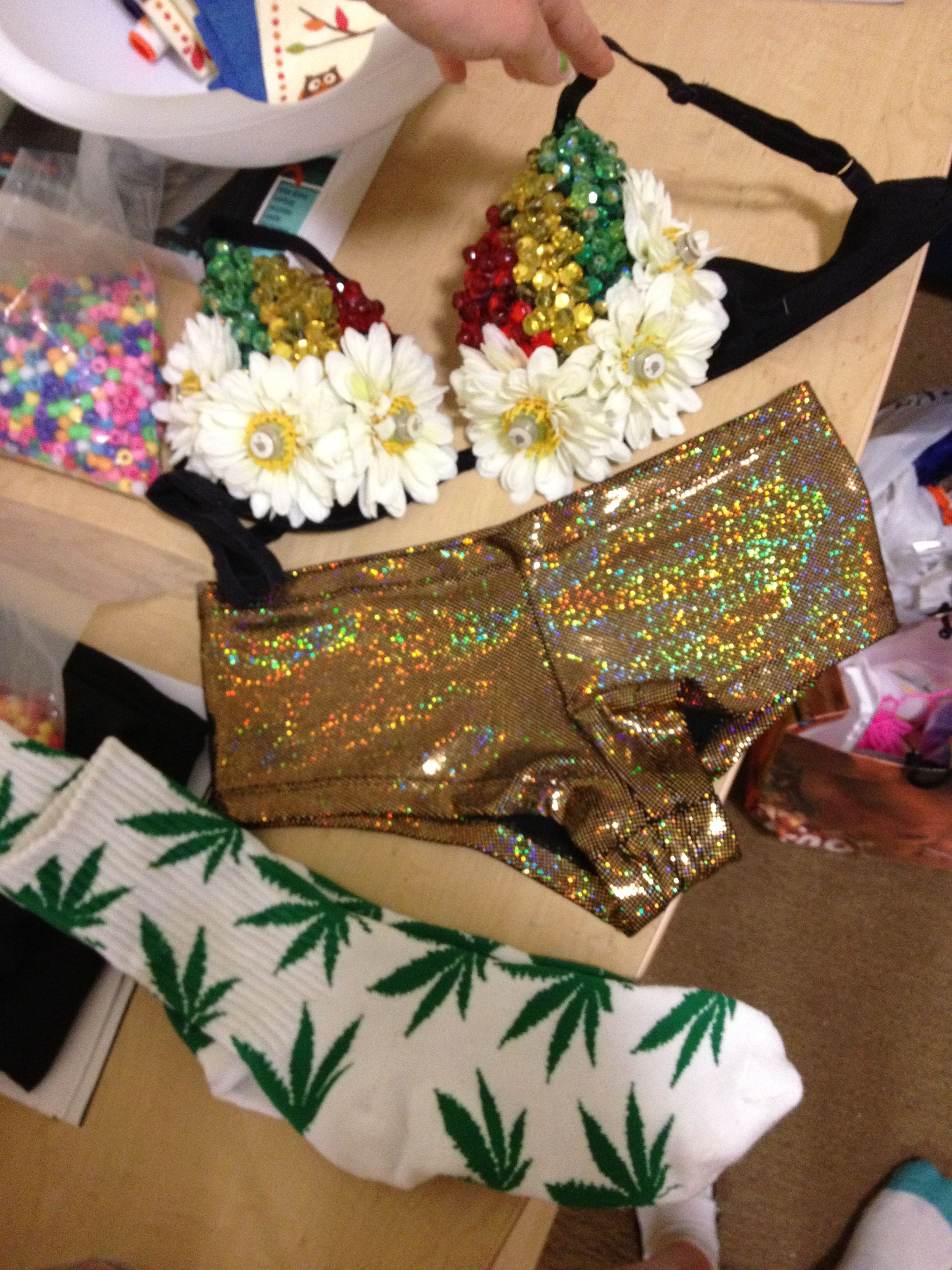 Rasta rave bra I made for edc Orlando 2012! There are lights in the center of each flower that flash red green and yellow!