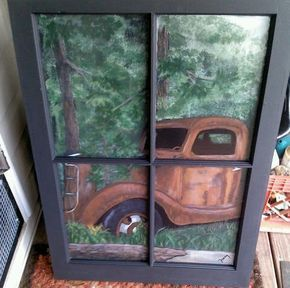 Items Similar To Antique Truck Window Painting On Etsy