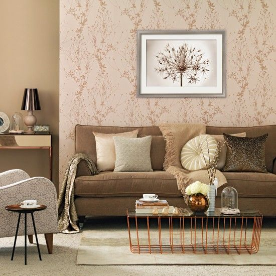 Rose gold living room living room decorating ideas for Brown wallpaper ideas for living room