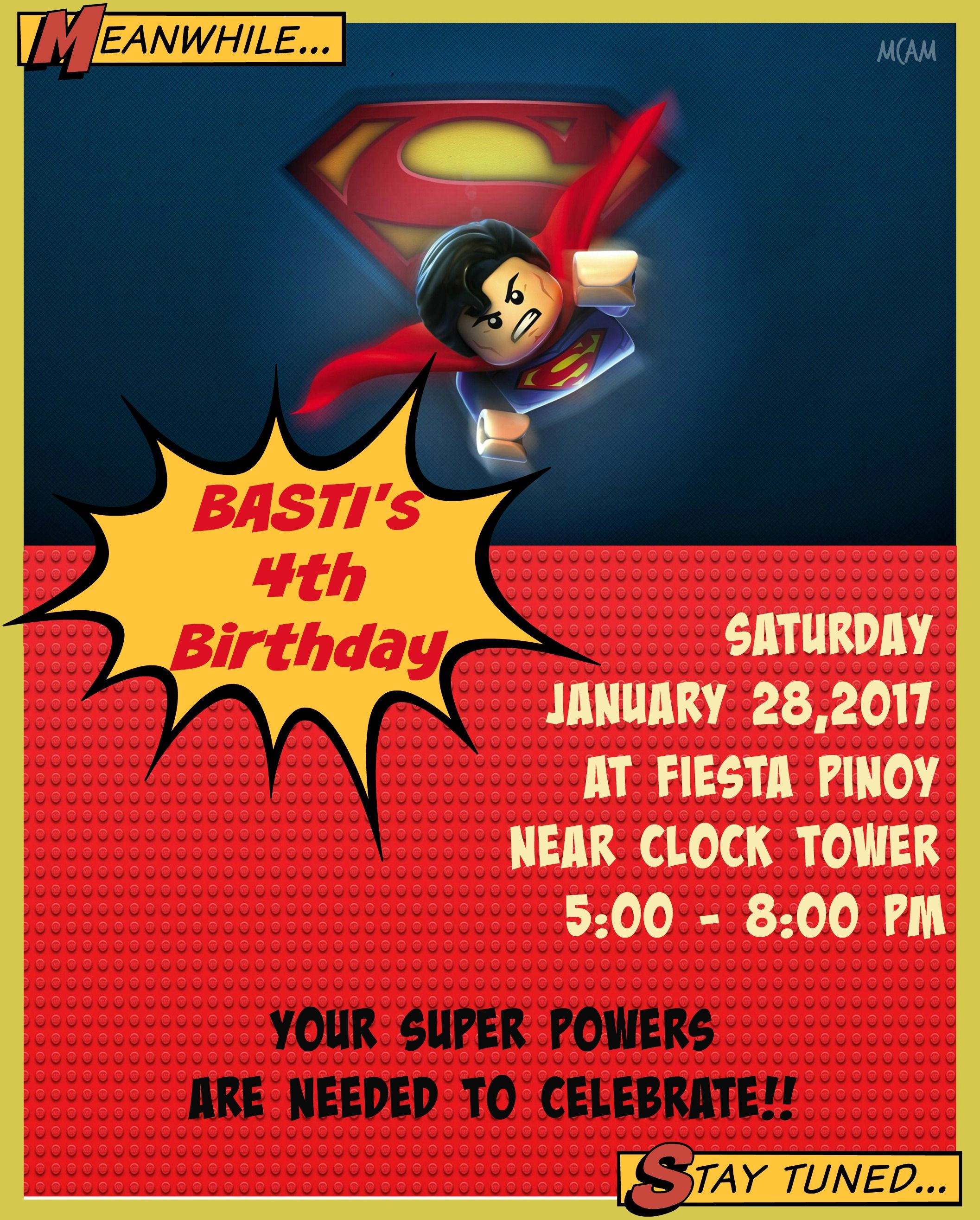 superman/lego inspired invitation by yours truly | Invites Designs ...
