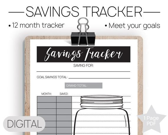 printable savings tracker printable tracker goal printable money
