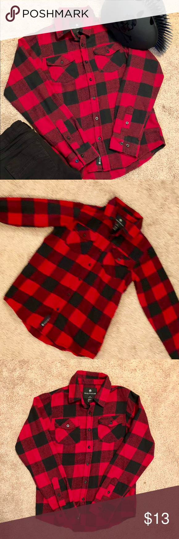 Red flannel unbuttoned  Boys NWOT Checkered Shouthouse Skater Flannel
