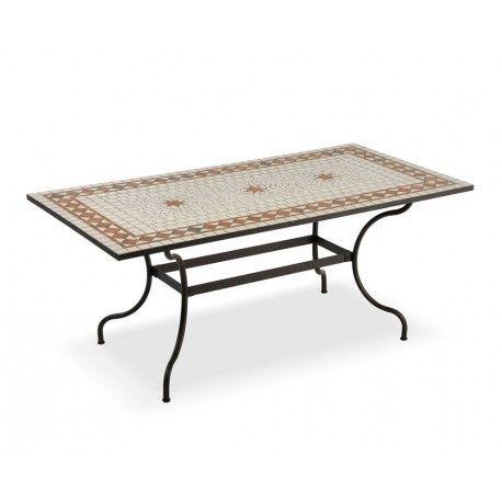 Tavolo mosaico rettangolare in ferro battuto | Tavoli ferro battuto ...