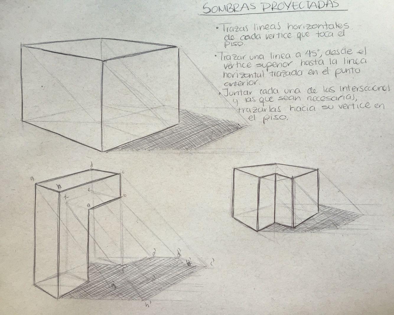 Sombras Proyectadas A 45 Grados Luz Y Sombra Dibujo Sombra Proyectada Geometria Descriptiva
