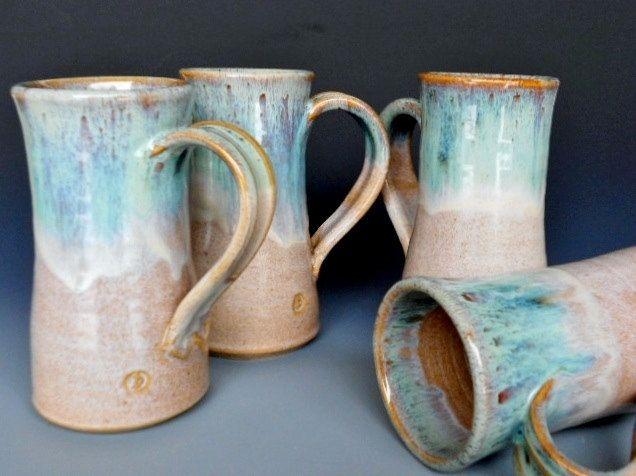 Set Of 4 Tall Mugs Ceramic Coffee Mug By Darshanpottery On Etsy 88 00