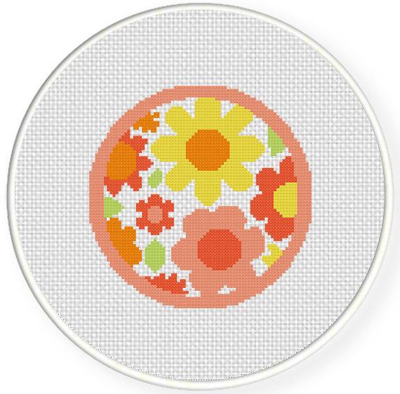 SALE Flower Badge PDF Cross Stitch Pattern by DailyCrossStitch, $1.49