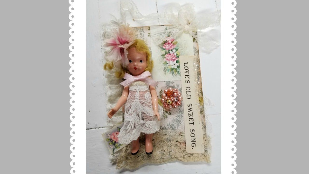 Vintage assemblage with flea market finds! Sweet doll tutorial