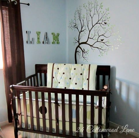 Blue mint green and brown nursery Monkeys and trees and fun