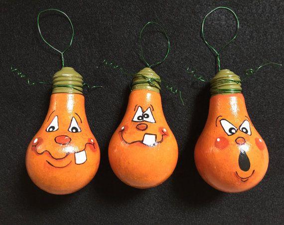 Pumpkin Light Bulb Ornaments Halloween Ornaments Light Bulb Ornaments Light Bulb Crafts