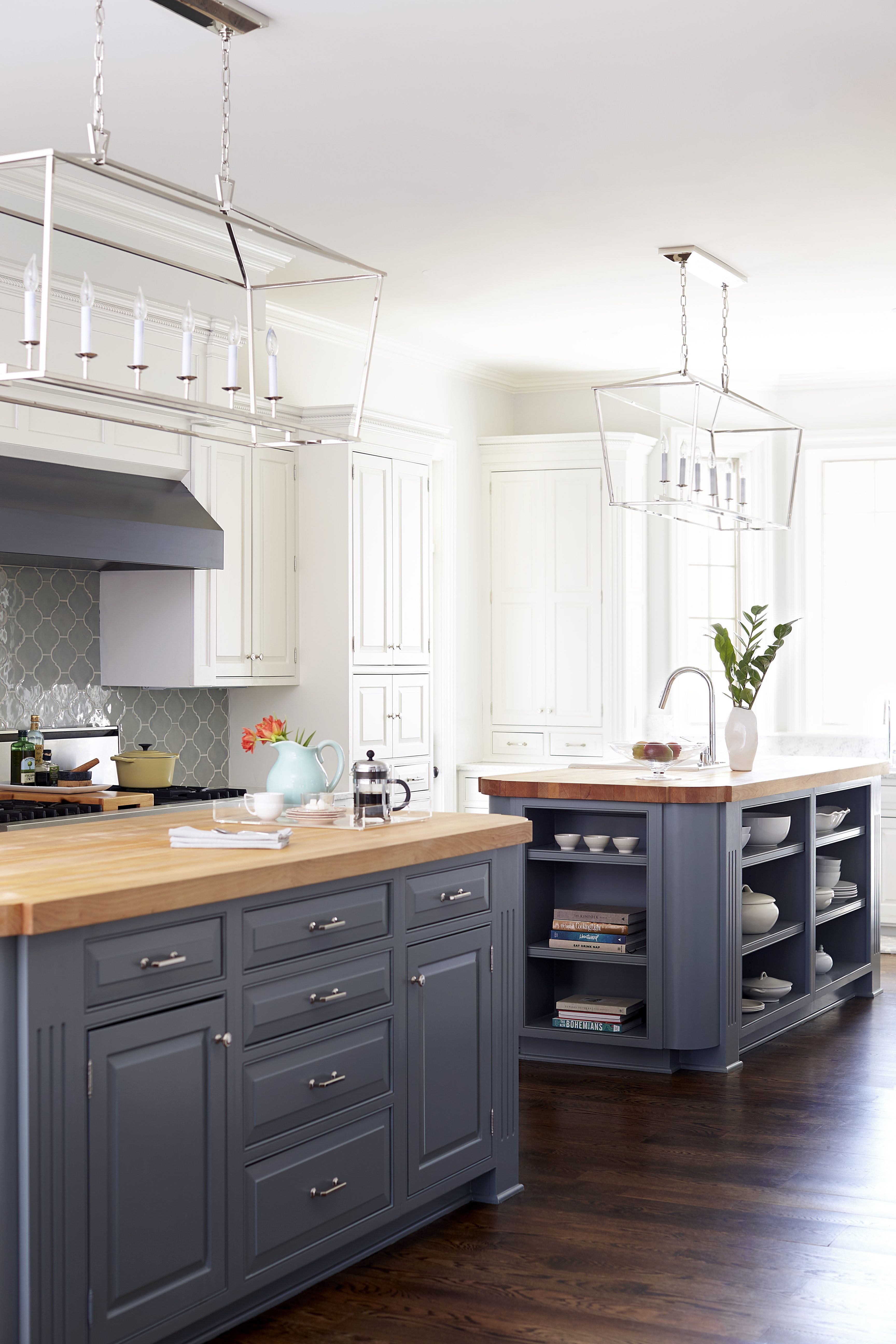 Custom Kitchen Renovation white uppers, blue island bases, butcher ...