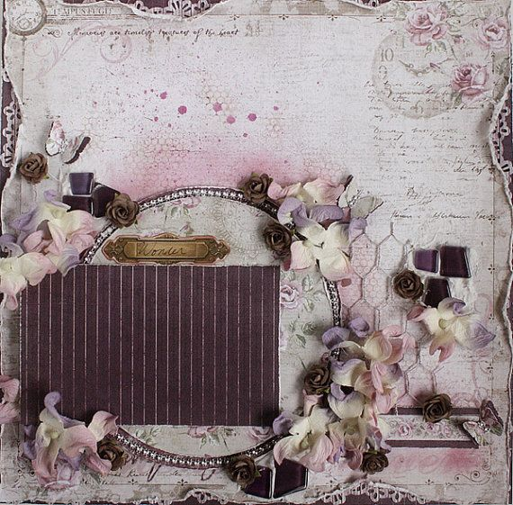 Reserved For Ros Premade 12x12 Shabby Chic Scrapbook Layout Prima Maja Desi