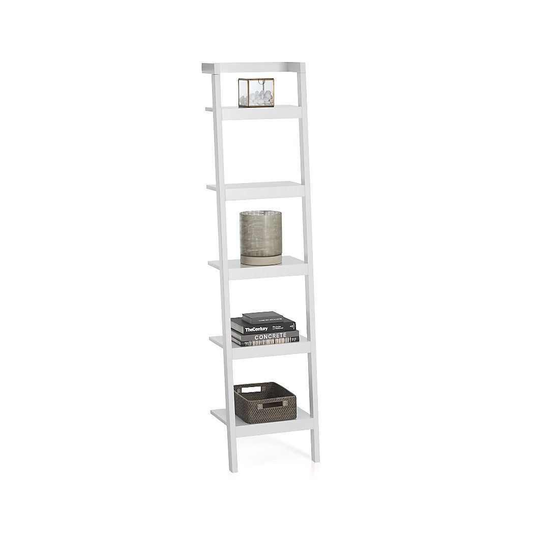 Shop sawyer white leaning 18 bookcase space saving clean looking sawyer uses an ingenious leaning modular design to creatively solve storage solutions