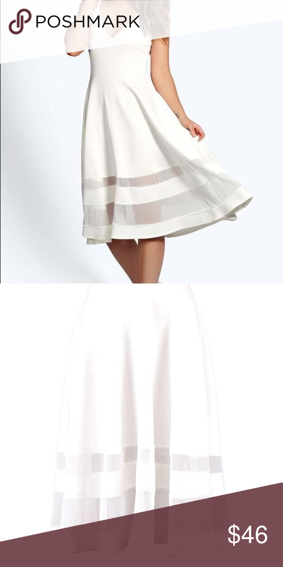 67b7e5e3ad1dc Celina Strappy Double Mesh Midi Skater Dress Go girly this season in this  white skater dress
