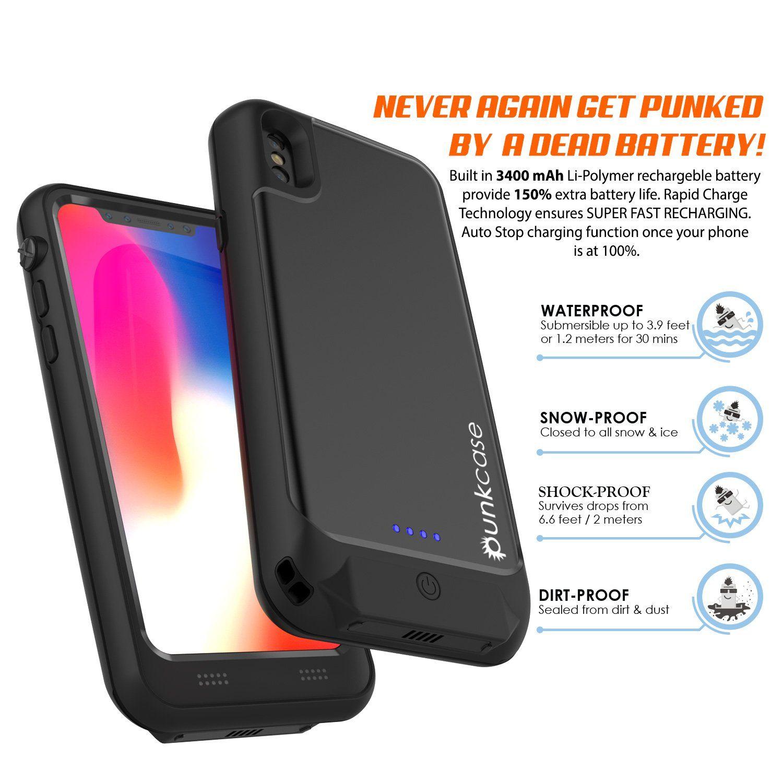 PunkJuice iPhone X Battery Case Waterproof IP68 Certified