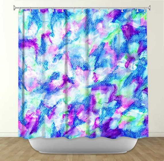 purple and turquoise shower curtain. THE FLOCK 2 Fine Art Turquoise Blue Mint Green Royal Purple Abstract  Painting Shower Curtain