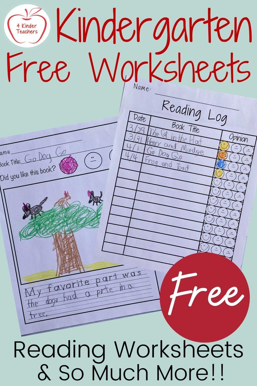 Free Kindergarten Worksheets Free Kindergarten Lesson Plans Free Kindergarten Worksheets Kindergarten Reading Log [ 1500 x 1000 Pixel ]