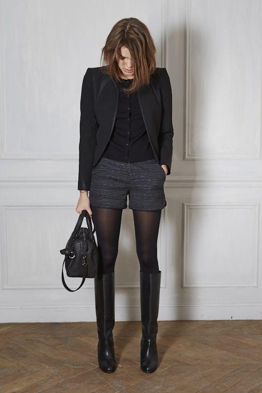 Black Blazer + Black Shirt + Grey Twill Shorts + Tights +